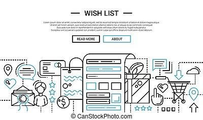 Wish List - line design website banner temlate