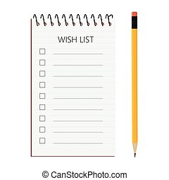Wish list vector - Vector illustration simple spiral notepad...
