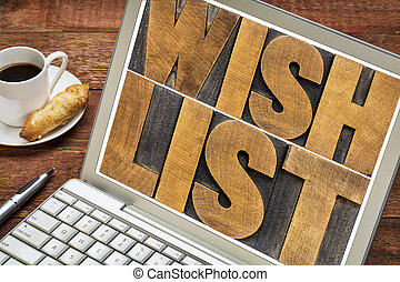 wish list word abstract on laptop - wish list word abstract ...