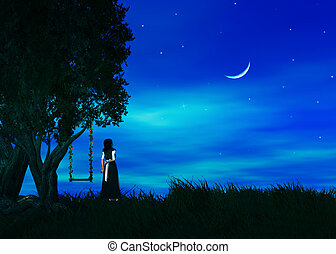 Wish Upon A Star - Female standing by a tree wishing upon a...