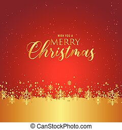 Wish You A Merry Christmas Snowflake Red Gold Background Vector Image