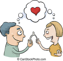 A man and woman both wish for love over a wishbone.