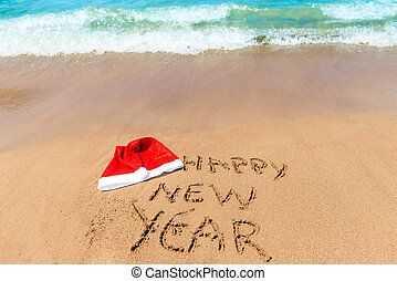 wishes a happy new year on the beach