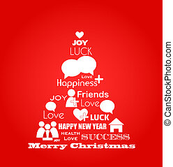 wishes for christmas; blue bird tree with social media icons