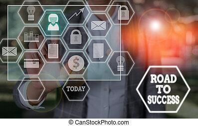wishes., really, success., vous-même, signe, route, photo, projection, étudier, améliorer, conceptuel, rêves, portée, texte, dur