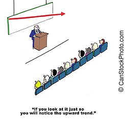 Wishful Thinking - Business cartoon of CEO speaking to...