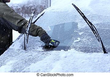 wishing a windscreen of a car