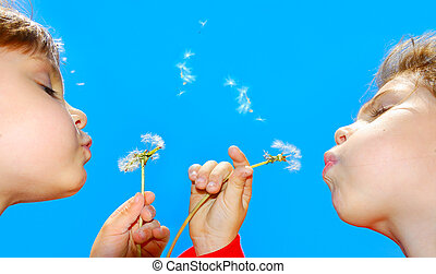 wishing children - cute 4 year old girls blowing dandelion...