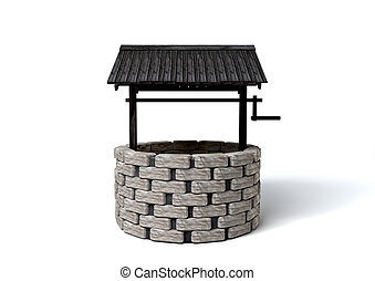 Wishing Well - An old school brick well with a rickety...