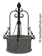 Wishing Well - A fantasy wishing well on a white background