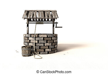 Wishing Well With Wooden Bucket And Rope - A brick water...