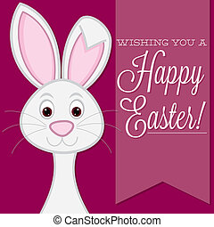 """Wishing you a Happy Easter"" retro style bunny card in..."
