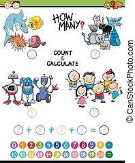 wiskunde, activiteit, voor, kinderen