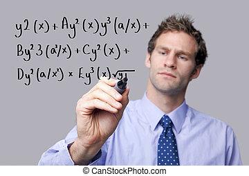 wiskunde, equation., leraar, schrijvende