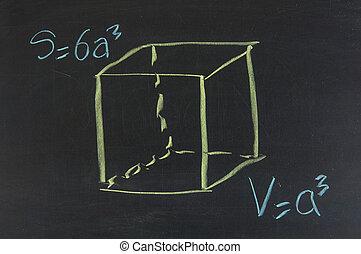 wiskunde, formules, geschreven, op, de, bord