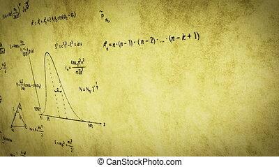 wiskunde, fysica, formules, op, oud, papier
