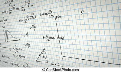 wiskunde, fysica, formules, op, papier