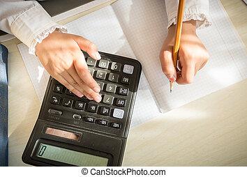 wiskunde, het oplossen, rekenmachine, klus, meisje
