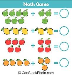 wiskunde, onderwijs, spel, voor, children., leren, aftrekking, worksheet, voor, geitjes, telling, activiteit