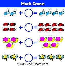 wiskunde, onderwijs, spel, voor, children., leren, aftrekking, worksheet, voor, geitjes, telling, activity., vector, illustratie