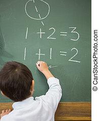 wiskunde, schattig, pupil, chalkboard, schrijvende