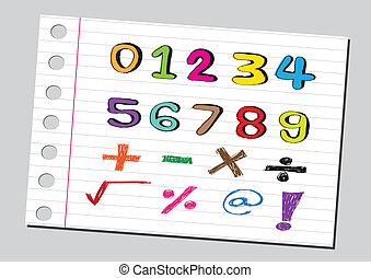 wiskunde, schets, getallen, symb