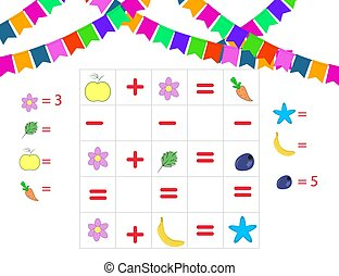 wiskunde, velen, hoe, spel, preschool, leren, children., wiskunde, objects., telling, task., getallen