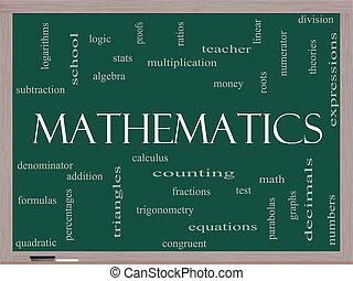 wiskunde, woord, wolk, concept, op, een, bord