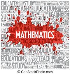 wiskunde, woord, wolk, opleiding, concept