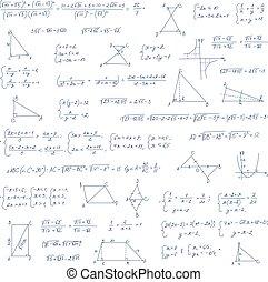 wiskundig, formules, algebra, vergelijking, hand, getrokken,...
