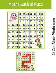wiskundig, gekke , page., opleiding, worksheet., labyrinth., kleur, raadsel, ontwikkelen, raadsel, spotprent, spel, vector, illustratie, activiteit, children., preschool., maze., style., kids.