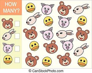 wiskundig, hoofden, velen, animals., hoe, spel, kinderen