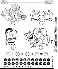 wiskundig, kleuren, pagina, activiteit
