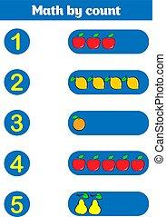 wiskundig, onderwijs, game., spel, children., telling, preschool