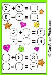 wiskundig, onderwijs, geitjes, compleet, algebra, vergelijking, spel, leren, children., activity., telling, wiskunde