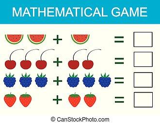wiskundig, optelling, illustratie, spel, vector, leren, children., activity., telling, geitjes