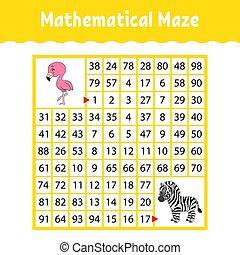 wiskundig, page., worksheet., kleur, raadsel, logisch, opleiding, style., gekke , labyrinth., illustratie, spel, children., maze., spotprent, kids., preschool., ontwikkelen, conundrum., raadsel, vector, activiteit