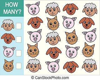 wiskundig, velen, animals., hoe, spel, telling, kinderen