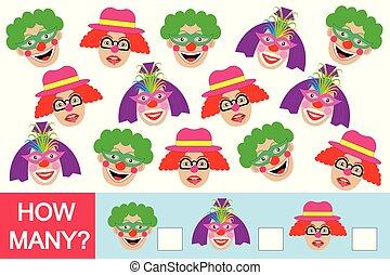 wiskundig, velen, spel, clowns?, hoe, getallen, leren, children.