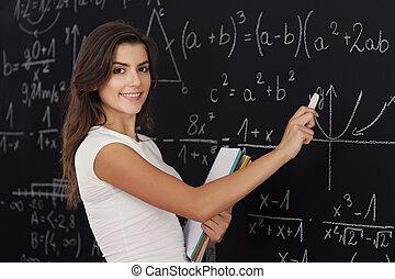 wiskundig, vrouw, op het losen problematiek, vrolijke