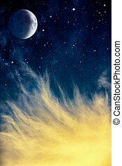 wispy, chmury, księżyc