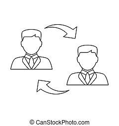 wisselen, lijn, mannen, pictogram