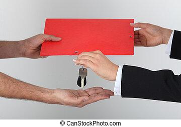 wisselen, sleutels, ondertekeend, contracteren