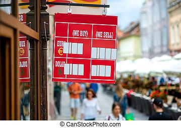 wisselkoers, tafel, op de straat