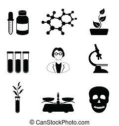 wissenschaft, biologie, und, chemie, ikone, satz