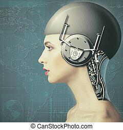 wissenschaft, cyborg, hintergruende, frau, technologie,...