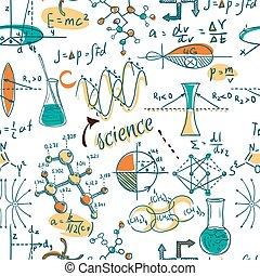 wissenschaft, gegenstände, labor, gekritzel