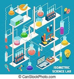 wissenschaft, isometrisch, labor