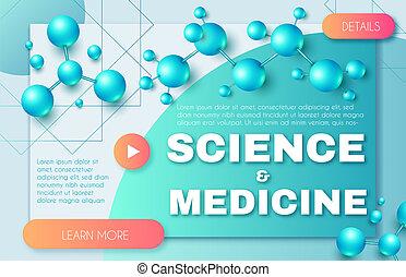 wissenschaft medizin, abstrakt, hintergrund, mit, 3d, moleküle, und, poppig, steigung, elements., hoch, biotechnologie, design, template.