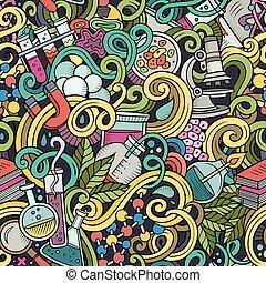 wissenschaft, seamless, hand-drawn, muster, doodles, karikatur